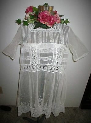 SUPERB ANTIQUE EARLY 1900s HAND MADE NET LACE SHORT DRESS~TUNIC~NORMANDY~S/M