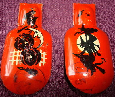 """Petite Vintage Halloween Clickers A Pair Of Witch Themed 2 1/2"""". Work Fine"""