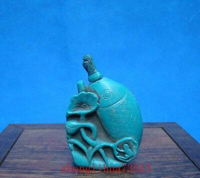 Collectible 100% Handmade Carving Turquoise Snuff Bottles Fish