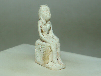 Ancient Egyptian Queen Nefertiti enthroned - Amulet (Faience)