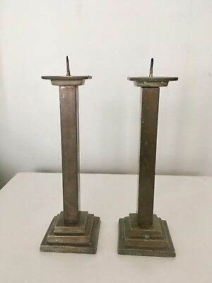 Vintage Pair of Brass/Metal Pillar Style Candle Sticks Dining Table Mantel