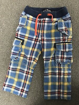 Mini Boden Checked Lined Combat Trousers age 3 Years (drawstring waist boy girl)