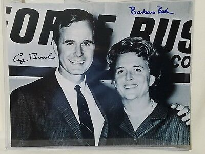 VINTAGE GEORGE HW BUSH & BARBARA BUSH Autograph/Signed 8x10 Black/White Photo