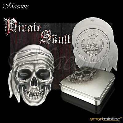 Pirate Skull 2017 Palau 1 Oz 999 Silver Special Shaped Coin With 3D High Relief