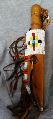 Native American Hand Beaded Sheath & Knife Set