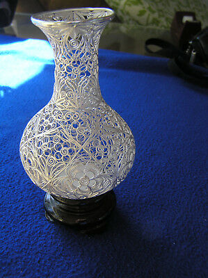 Sterling silver filigree Chinese vase in original box