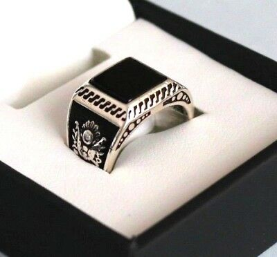 e3352c049c9f9 RARE STERLING SILVER Turkish ONYX STONE Pinky Ring Ottoman Coat of Arms S 5