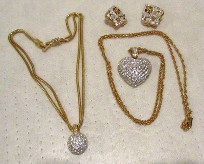 Vintage Gold Metal Swarovski Crystal Heart Pendant Necklace Earrings Lot~NR!