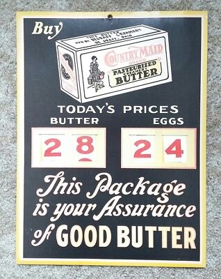 Vintage Country Maid Butter Price Advertising Poster With Changeable Numbers