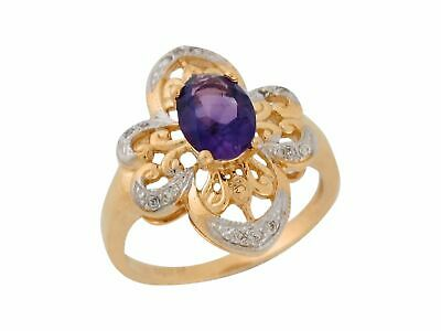 10k or 14k Yellow Gold Real Amethyst Diamond Accent Antique Style Ladies Ring