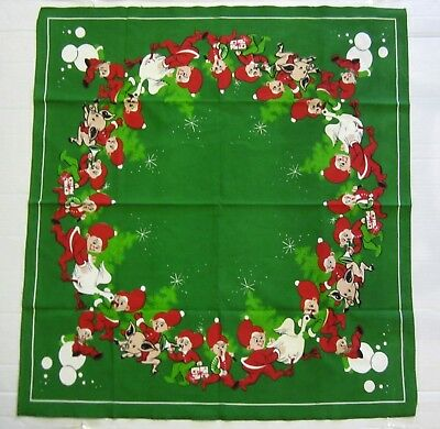 Vintage Retro Christmas Green Tablecloth with Elves Pigs Geese Horns & Presents