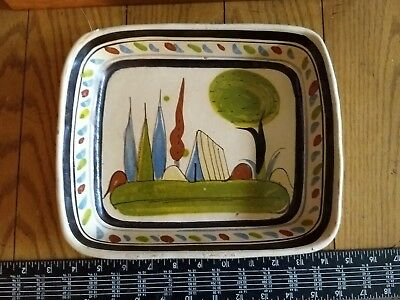 """vintage hand painted Old Mexico redware pottery rectangle Tlaquepaque tray 9 """""""