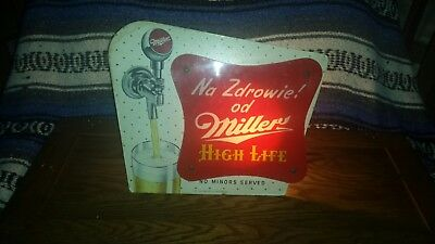 1950's Miller High Life beer tap knob light up sign