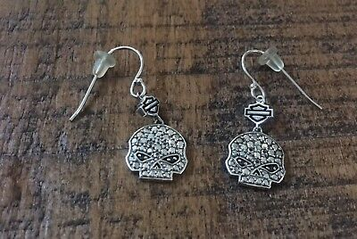 rare Harley Davidson MOD Sterling Silver.925 Earrings Willie G Crystals