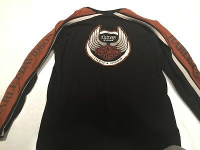 Harley-Davidson 105th Men's Long Sleeve Crew Shirt, Black - XL