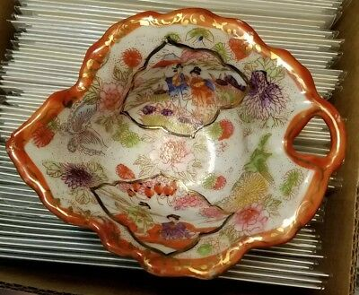 Antique Very Old Japanese SCALLOPED LEAF Plate Shallow Bowl Dish Hand Painted