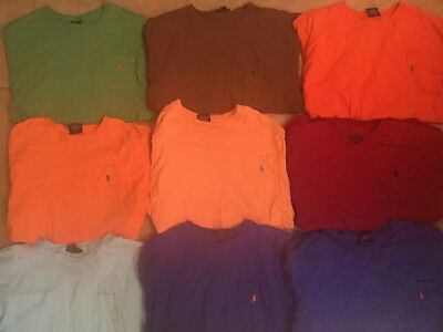 Vintage 1990's Lot of 9 Polo Ralph Lauren L Pocket T-Shirts Green, Peach Blue