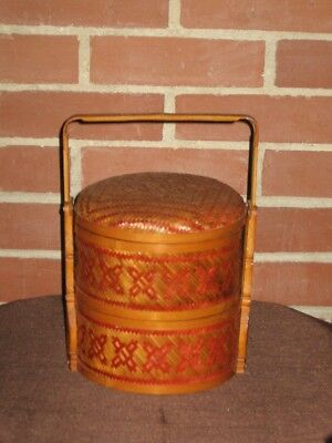 Vintage Chinese Wedding Baskets Stackable Wicker Rattan Woven 2-Tier