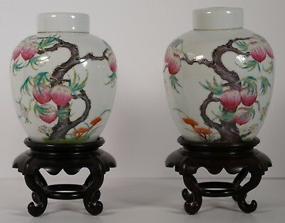 Chinese Porcelain Republic Period  Peach Ginger Jars - red stamp famille rose