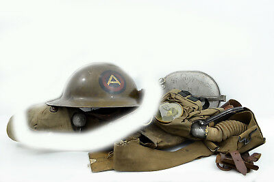 WW1 US Doughboy 3rd Division AO Grouping Trench Art! Helmet gas mask mess kit