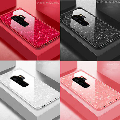 Pattern Bling Glass Ultra Thin Case Cover For Samsung Galaxy Note 8 9 S8 S9 Plus