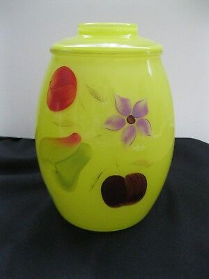 C.1950's-1970'S BARTLETT COLLINS Yellow Cookie Jar, Hand Painted Fruit & Florals