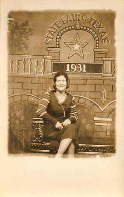 Lady Having Fun At The 1931 State Fair of Texas Real Photo Postcard