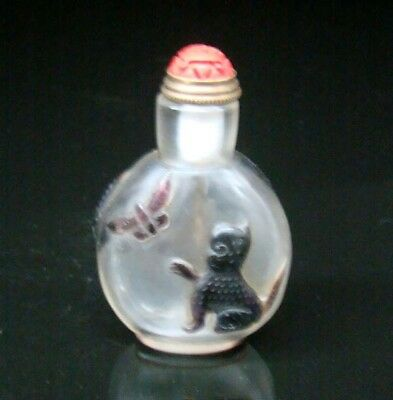 100% Handmade Statue Carving Painting Snuff Bottles old peking Colored glaze 067