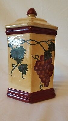 """Hand made for Nonni""""s hexagon cookie jar/canister grape vines"""