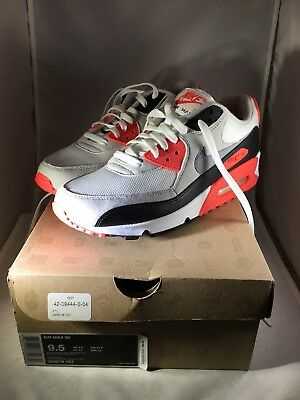 ee6ebaf0355b15 2010 NIKE AIR MAX 90 WHITE CEMENT GREY INFRARED BLACK 325018-107 Size 9.5