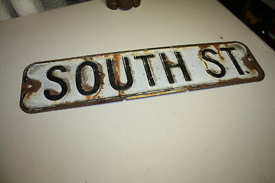Vintage 1930's White & Black Old Corner Sign South Street Heavy Thick  24X6