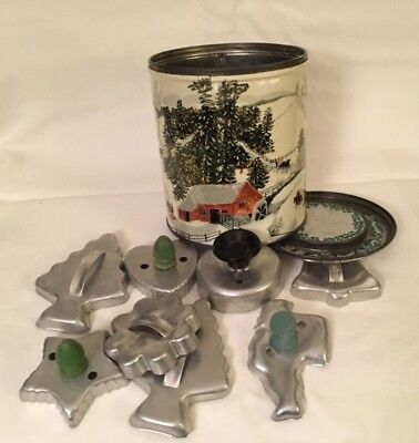VNTG Grandma Moses Winter Scene Spry Tin w/ 8 Aluminum Cookie Cutters
