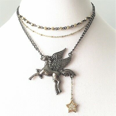 Betsey Johnson Pegasus 'Fly With Me' Necklace RARE & HTF!