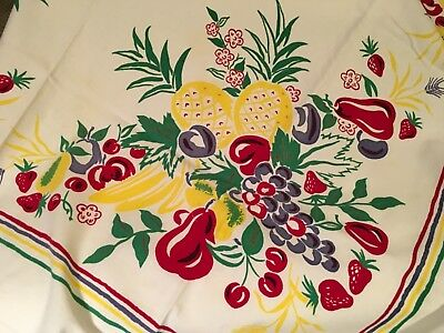Vintage Fruit Print Tablecloth Red Yellow Green Pineapple Pear Grape Plum Banana