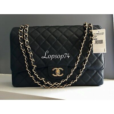 97cbed2df NWT CHANEL Classic Quilted Caviar MAXI Black Gold GHW SHW Double Flap 2.55  Bag