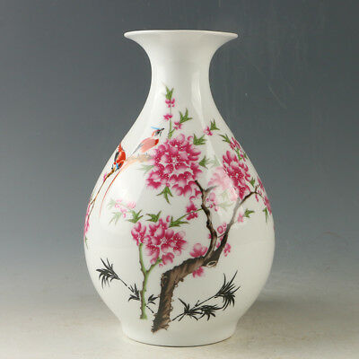Chinese Porcelain Hand-painted Plum Blossom & Magpie Vase W Qianlong Mark R1187