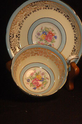 Royal Grafton Blue Gold Floral  Cup and Saucer