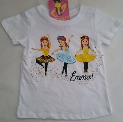 THE WIGGLES EMMA WIGGLE Licensed Girl tee t shirt top white tutu NEW sizes 2-5
