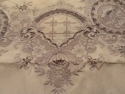 """Antique Rare Exceptional Hand Embroidered Italian Linen Tablecloth 62""""X 48"""""""