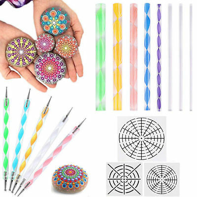 16pc/Set Mandala Dotting Painting Rocks Double Sided Dotting Kit Stencil Use