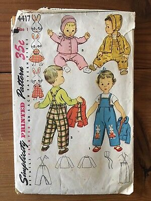 Vintage Pattern Child's Overalls,Jacket &Hat Simplicity Sz 1 Embroidery Transfer
