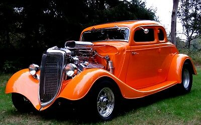 1934 Ford 5 Window Coupe Steel 1934 5 Window Steel Coupe Stunning New Tangerine/Tan,468BB,Auto,AC,PS,PDB,PW,Exc