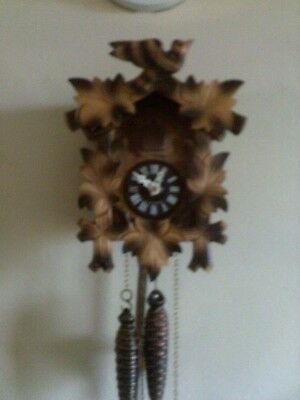 Used Small 1 Day  Cuckoo Clock Vintage Black Forest Working (Nice)