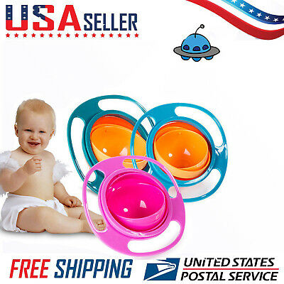 Baby Anti Spill Bowl 360 Rotate Universal Gravity Kids Feeding Training Cup USA