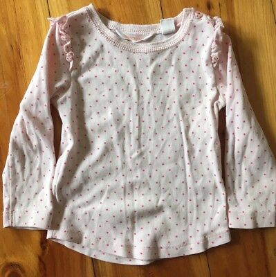 Country Road Baby Girl Long sleeve Henley Top Pink Polka Dot Size 0