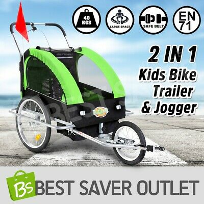 2IN1 Kidbot Kids Bike Trailer Child Bicycle Pram Stroller Children Jogger GREEN