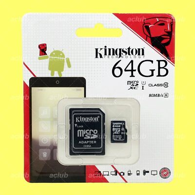 Kingston 64GB UHS-I microSDXC Memory Card 64G Class 10 U1 + micro SD Adapter
