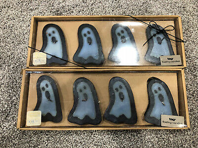 Ghost Halloween Set of 8 Floating Candles in Box-tag Brand NEW VERY RARE