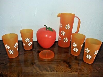 Vintage 1970 Lot Seau À Glaçons Orange Et Service Orangeade Orange