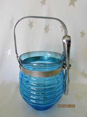 Vintage Blue Glass Ice bucket